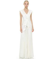 Женское белое шелковое вечернее платье от J. Mendel