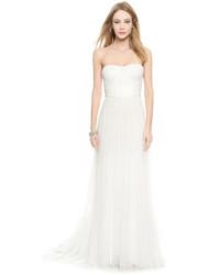 Женское белое шелковое вечернее платье от Monique Lhuillier