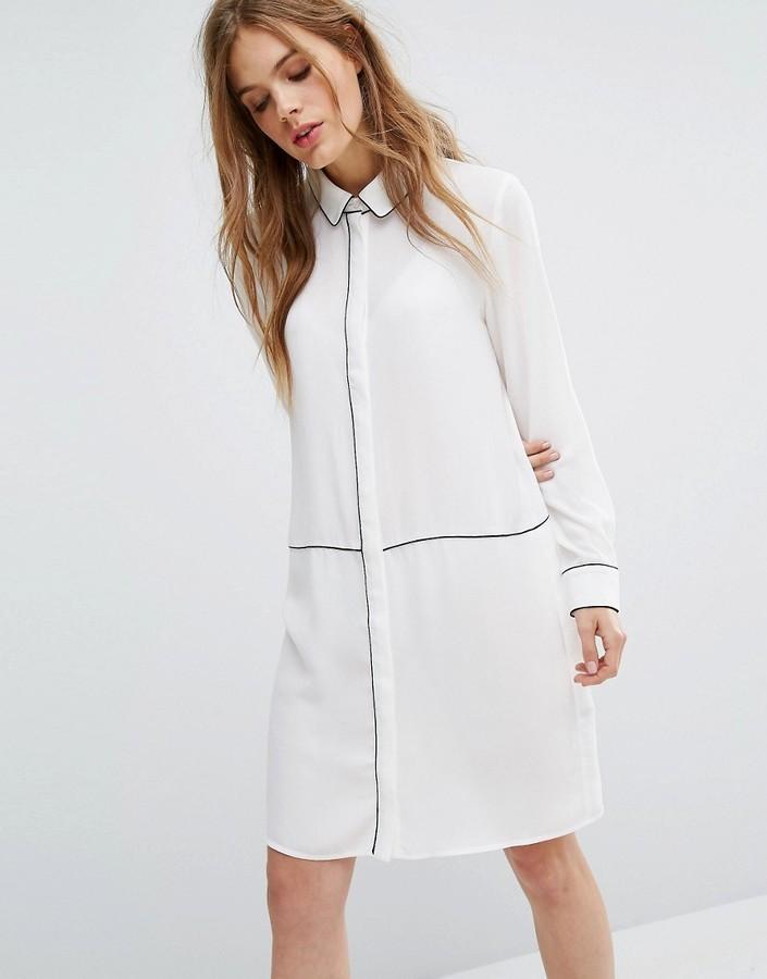b327d0ee319 ... Белое шифоновое платье-рубашка от Selected ...