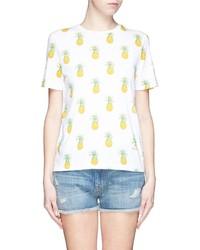 Бело-желтая футболка с круглым вырезом с принтом