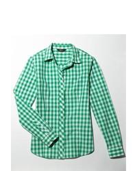 Бело-зеленая классическая рубашка в мелкую клетку