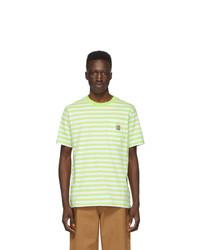 Бело-зеленая футболка с круглым вырезом в горизонтальную полоску