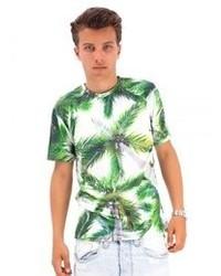 Бело-зеленая футболка с круглым вырезом с принтом