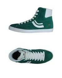 Бело-зеленые высокие кеды