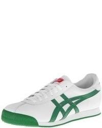 Бело-зеленые кожаные низкие кеды