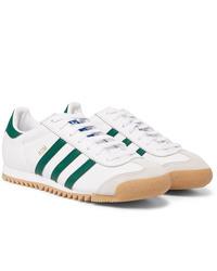 Мужские бело-зеленые кожаные низкие кеды от adidas Originals