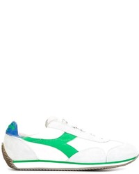 Мужские бело-зеленые кожаные низкие кеды от Diadora