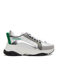 Мужские бело-зеленые кожаные низкие кеды от DSQUARED2