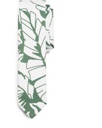Бело-зеленый галстук с принтом