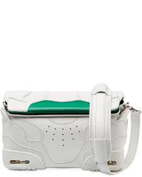 Бело-зеленый кожаный клатч