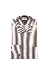 Бело-коричневая классическая рубашка в вертикальную полоску