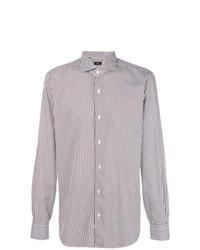 Мужская бело-коричневая классическая рубашка в вертикальную полоску от Barba