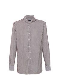Мужская бело-коричневая классическая рубашка в вертикальную полоску от Lardini