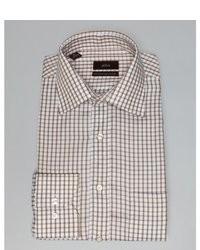 Бело-коричневая классическая рубашка в мелкую клетку