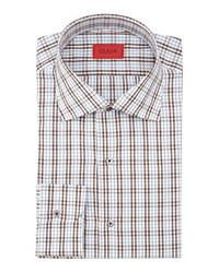 Бело-коричневая классическая рубашка в шотландскую клетку