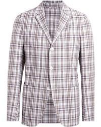 Мужской бело-коричневый пиджак в шотландскую клетку от Ermenegildo Zegna