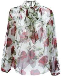 Бело-красная блузка с длинным рукавом с принтом от Dolce & Gabbana