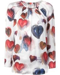Бело-красная блузка с длинным рукавом с принтом от MSGM
