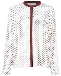 Бело-красная блузка с длинным рукавом с принтом от Vanessa Bruno