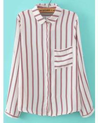 Бело-красная классическая рубашка в вертикальную полоску