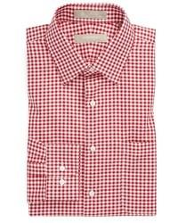 Бело-красная классическая рубашка в мелкую клетку