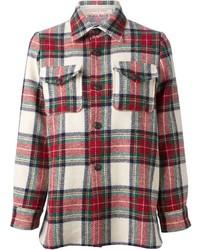 Бело-красная классическая рубашка в шотландскую клетку
