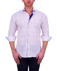 Бело-красная рубашка с длинным рукавом в клетку