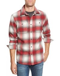 Бело-красная рубашка с длинным рукавом в шотландскую клетку