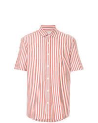 Бело-красная рубашка с коротким рукавом в вертикальную полоску