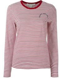 Бело-красная футболка с длинным рукавом в горизонтальную полоску