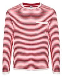 Мужская бело-красная футболка с длинным рукавом в горизонтальную полоску от Eleventy