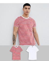 Мужская бело-красная футболка с круглым вырезом в горизонтальную полоску от ASOS DESIGN