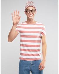 Мужская бело-красная футболка с круглым вырезом в горизонтальную полоску от Asos