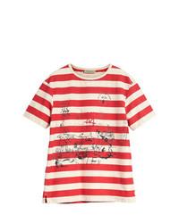 Мужская бело-красная футболка с круглым вырезом в горизонтальную полоску от Burberry