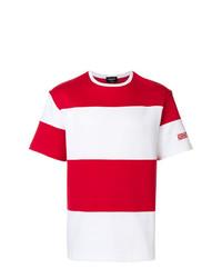 Мужская бело-красная футболка с круглым вырезом в горизонтальную полоску от Calvin Klein 205W39nyc