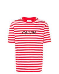 Мужская бело-красная футболка с круглым вырезом в горизонтальную полоску от CK Calvin Klein