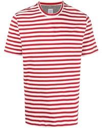 Мужская бело-красная футболка с круглым вырезом в горизонтальную полоску от Eleventy