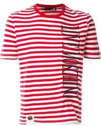 Мужская бело-красная футболка с круглым вырезом в горизонтальную полоску от Love Moschino