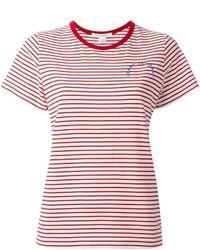 Женская бело-красная футболка с круглым вырезом в горизонтальную полоску от Marc Jacobs