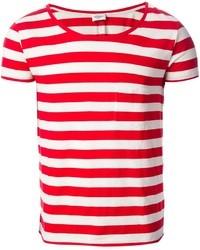 Мужская бело-красная футболка с круглым вырезом в горизонтальную полоску от Saint Laurent