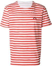 Мужская бело-красная футболка с круглым вырезом в горизонтальную полоску от Societe Anonyme