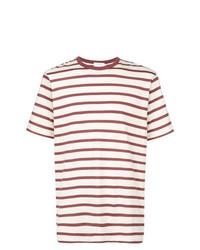 Мужская бело-красная футболка с круглым вырезом в горизонтальную полоску от Sunspel