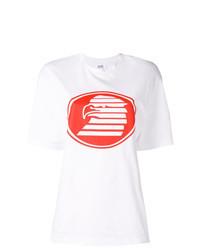 Бело-красная футболка с круглым вырезом с принтом