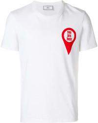 Мужская бело-красная футболка с круглым вырезом с принтом от AMI Alexandre Mattiussi