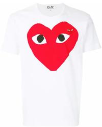 Мужская бело-красная футболка с круглым вырезом с принтом от Comme des Garcons