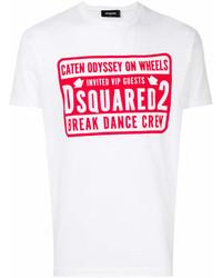 Мужская бело-красная футболка с круглым вырезом с принтом от DSQUARED2
