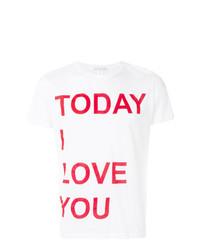 Мужская бело-красная футболка с круглым вырезом с принтом от Ermanno Scervino