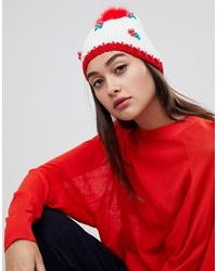 Женская бело-красная шапка от Boardmans