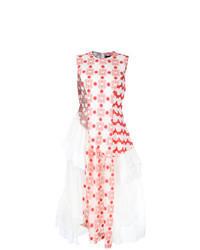 Бело-красное платье-миди с цветочным принтом
