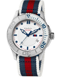 Бело-красно-синие часы в горизонтальную полоску